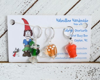 Have a Drink On Me Stitch Marker Progress Keeper Set Lampwork Glass Drink Charms Knitting Notions Crochet Notions
