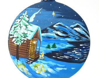 Lakehouse Hand Painted Christmas Ornament