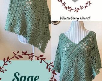 Sage Poncho// womens crochet poncho pattern