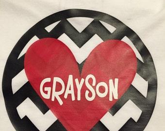Chevron Personalized Valentine short sleeve tshirt