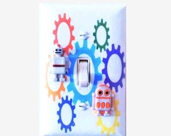 Robot nursery - Robot room decor - Robot light switch cover - Space robots - Boys bedroom decor - Robot wall decor - Kids room - Robot gift