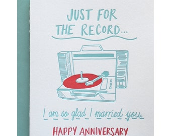 Letterpress Anniversary Card, Pun Punny Love, 70s record player, album 45, Sweet Romantic, Rocker Mid Century, Lettering Mint Green, LOA01