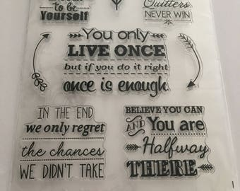 Inspirational Clear Stamps, Inspirational Stamps, Cardmaking Stamps, Planner Stamps, Quote Stamps, Inspirational Quote Stamps.