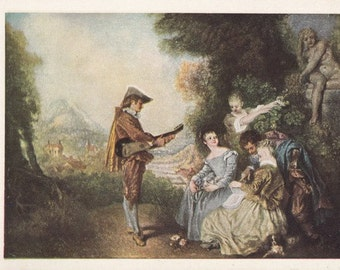 Art reproduction vintage post card. Lesson of Love by Watteau.
