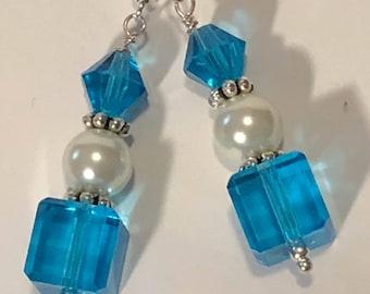Icey Blue Dangel Earrings