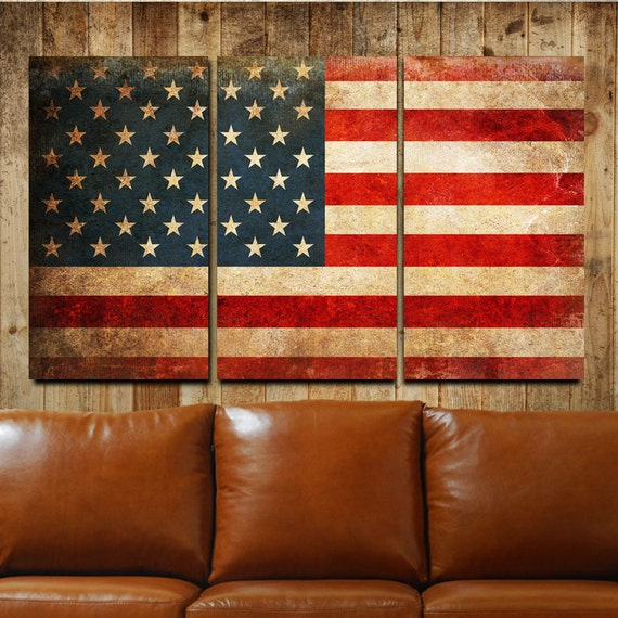 Elegant American Flag Rustic Canvas Gallery Wrapped Wall Art Triptych
