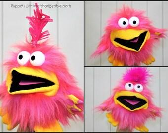 Hand Puppet - Bird Puppet - Animal Puppet - Pink Puppet - Pink Bird