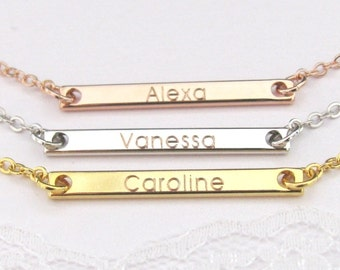 Name Necklace Bar in Gold Plated, Silver Plated or Rose Gold Plated Engraved with Name