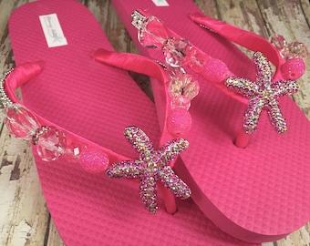 Starfish Pink Flip Flops, Pink Beach Flip Flops, Dancing Shoes, Starfish Hot Pink Bridal Sandals, Beach Wedding Shoes One of a Kind 8/9