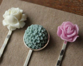 Silver Hairpins with Flowers - Ivory, Seafoam, Orchid - Set of 3