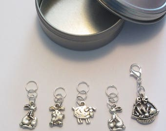 Easter Themed Sealed Ring Stitch Markers with a Lobster Claw Progress Keeper.
