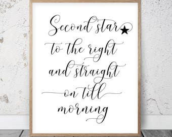 Nursery Wall Art Second Star To The Right And Straight On 'Till Morning, Peter Pan Nursery Art, Children Room Decor, Inspirational Print