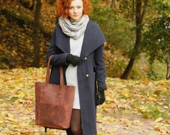 Leather tote - leather shoulder bag - brown leather tote - brown leather shoulder bag - brown tote - tote bag - bucket bag