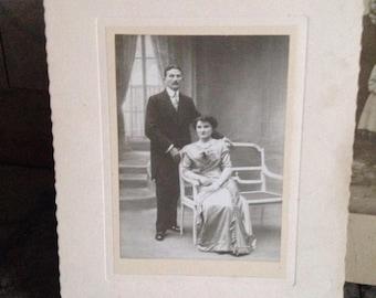 1900, Antique photograph, Edwardian, couple, formal dress, A. Albert, photographer, Paris, French