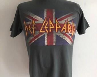 Vintage Unisex Adults 90's Def Leppard, T Shirt, Gray, Short Sleeve (M)