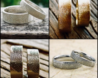 Order Your Pair of Personalized and Custom Made Finger Print Wedding Bands - For Deposit Only