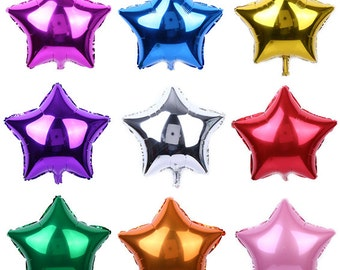 "9 Colors 5"" 10"" 18"" 24"" Star Foil Helium Balloons Wedding Birthday Party Engagement Decoration Reusable"