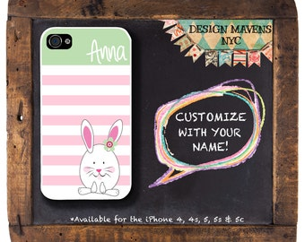 Bunny Rabbit iPhone Case, Personalized Monogram iPhone Case, iPhone 4, iPhone 4s, iPhone 5, iPhone 5s, iPhone 5c, iPhone 6, Phone Case