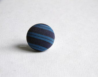 Blue lapel pin. Mens lapel button. Round boutonniere. Fabric buttonhole. Striped boutonniere. Made in Italy. Office wear. Cufflinks
