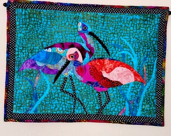 Wall Art Quilt Shore Birds Fabric Art Sandpipers Tropical Beach House Batik Wall Hanging Aqua Coral Purple