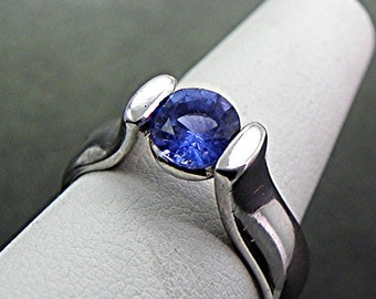 14K White Gold Tension-Style Engagement ring set with Natural   6.00mm   Round Blue Sapphire .94 carats 1391