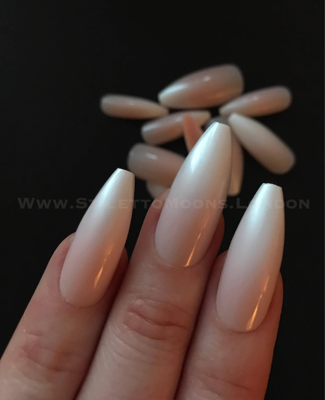 Ombre CHROME ballerina Super long false nails. 24 pieces NOT hand ...