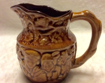 Vintage Canada pottery large creamer. Signed Betsy Ross House