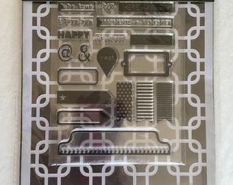 Destash new art pack with stencil and clear rubber stamps