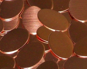 Copper Ovals - 22 Gauge, stamping blanks, hand stamping blanks, metal working blanks, Bopper, copper blanks, 22 gauge blanks