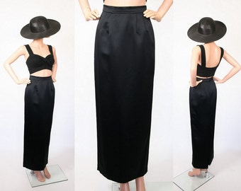 Vintage 90s Minimalist Skirt / Black Satin Column Skirt / Cocktail Party Evening Skirt / 1990s Goth / Futuristic Glam / Extra Small
