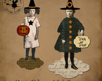 Halloween Witch Ornaments Printable Digital Download