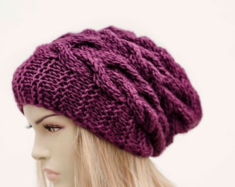 Big Sale -Slouchy beanie  oversized beanie hat winter knit hat for woman in purple - COLOR OPTION AVAILABLE