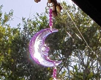 PURPLE CRESENT MOON lightcatcher-suncatcher-spiritual decor-outdoor decor-pagan-witch-wiccan-goddess keepsake-gift-ornament.