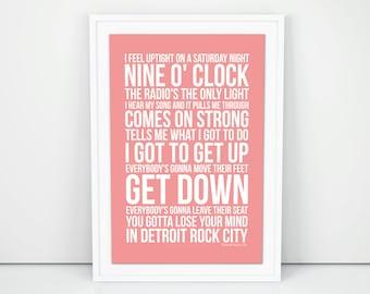KISS Detroit Rock City Lyrics Poster Print Wall Artwork Memorabilia