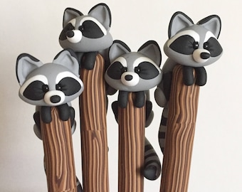 Polymer Clay Raccoon Ballpoint Pen