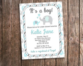 Blue Elephant Baby Shower Invitations - Baby Boy Blue and Gray Stripes Baby Shower Invites Custom Blue Elephant Baby Shower Invites DIGITAL