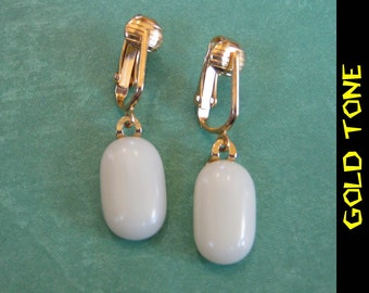Clip On Earrings, Dangle Cream Clip ons, Non Pierced Earrings, Gold Tone Clipons Findings - Tianna - 353 -4