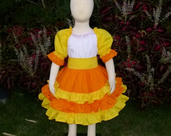 Candy Corn inspired Peasant Dress, Halloween Dress, Girl Dress, Infant Dress,Peasant Dress