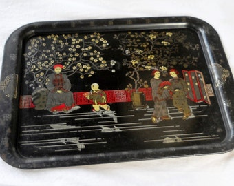 Vintage Asian Black and Gold Metal Tray