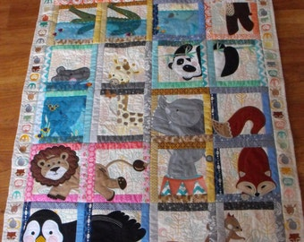 Machine Appliqued Baby Quilt, baby quilt, machine appliqued quilt, appliqued baby quilt, animal quilt,custom baby quilt, handmade baby quilt