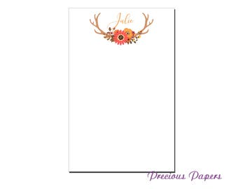 Personalized rustic antler notepad  antler note pad and stationery