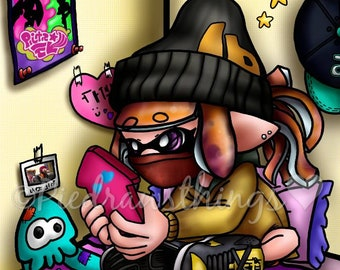PREORDER Cute Splatoon Inkling girl art print- Original artwork print