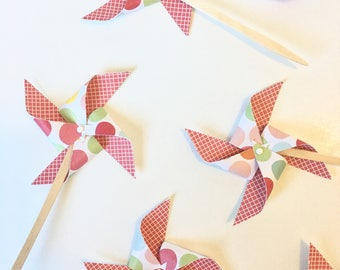 Red Pinwheel Cupcake Toppers, Baby Shower Cupcake Topper, 1st Birthday Cupcake Topper, Wedding Cupcake Topper