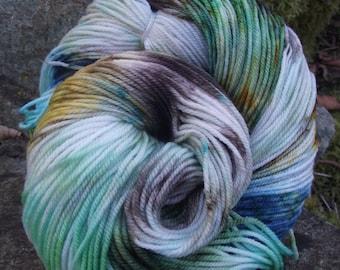 Handpainted sock yarn, fingering yarn, Superwash Wool and Nylon ,100 grams-EUPHROSYNE