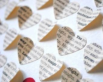 First Anniversary Gift, Personalized 3D Hearts - made with song lyrics, love letter, or vows (Unique wedding present)