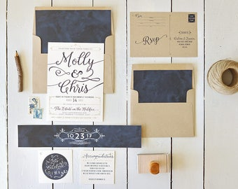 Rustic Wedding Invitation, Calligraphy Invitation, Printable Invitation, Modern Wedding, Kraft Invitation, Navy Wedding, Invitation Set