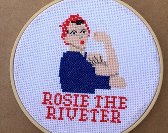 Rosie the Riveter Cross Stitched Hoop