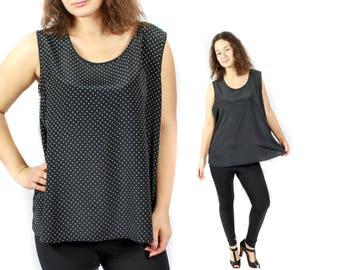 Vintage polka dot shirt, polka dot shirt, 80s dot shirt, vintage shirt, 80s Tank top, Black Oversized shirt, Sleeveless shirt / Large