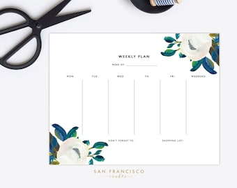 Weekly Planner | Printable, Floral Daily Schedule | Diana Collection, Blue Floral, Modern | PDF, Instant Download