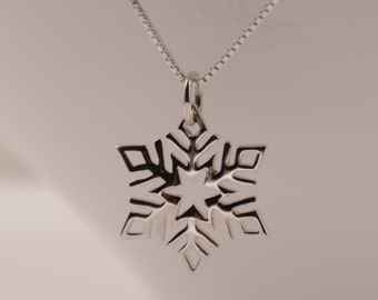 Snowflake necklace. Small snowflake necklace. Christmas gift